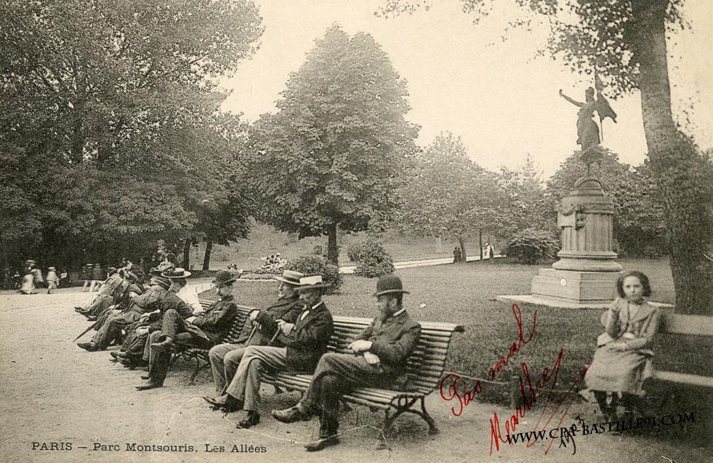 Paris parc montsouris les all es cartes postales for Jardin 19eme siecle