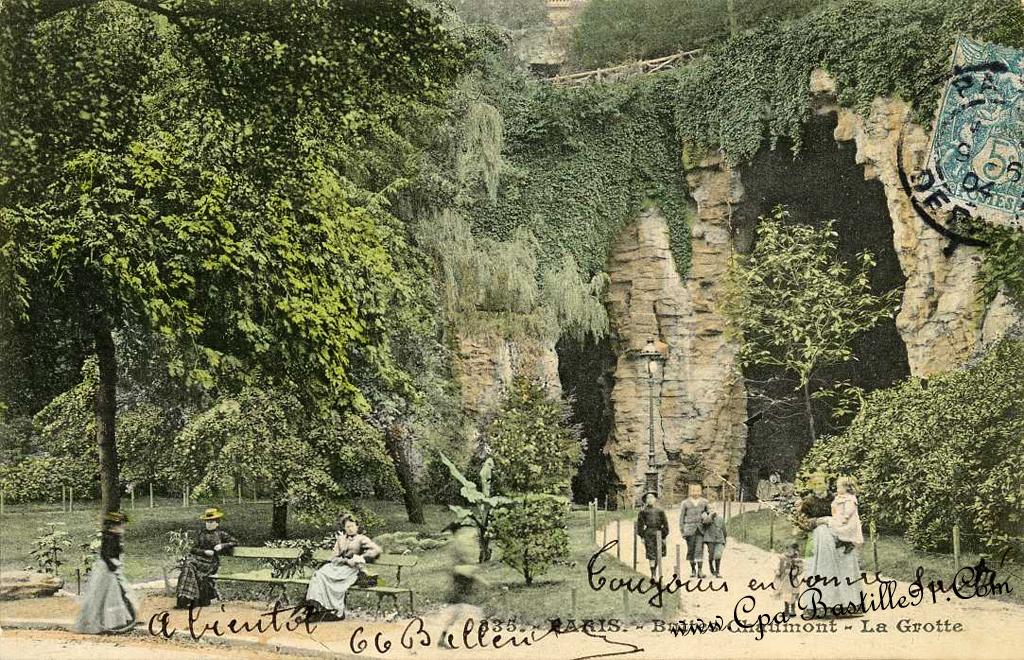 Carte Buttes Chaumont.Paris Buttes Chaumont Le Pont Suspendu Et La Grotte Cartes