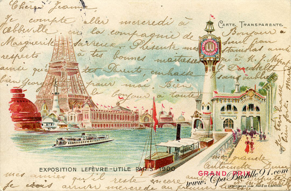 Exposition De Paris 1900 Carte Transparente Biscuit Lu