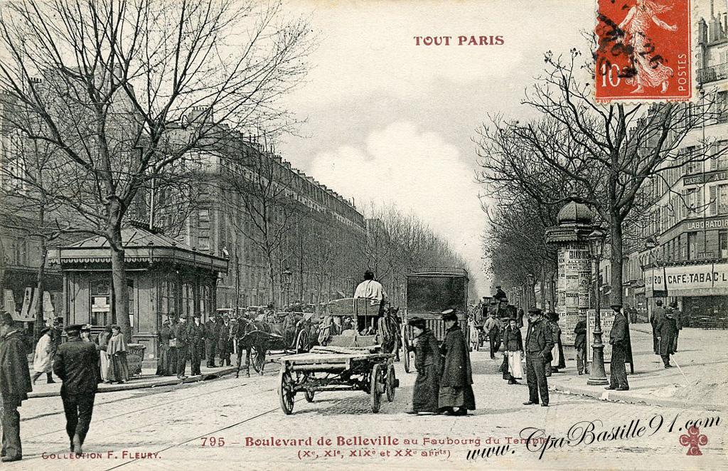 Cpa Tout Paris Boulevard De Belleville Au Faubourg Du