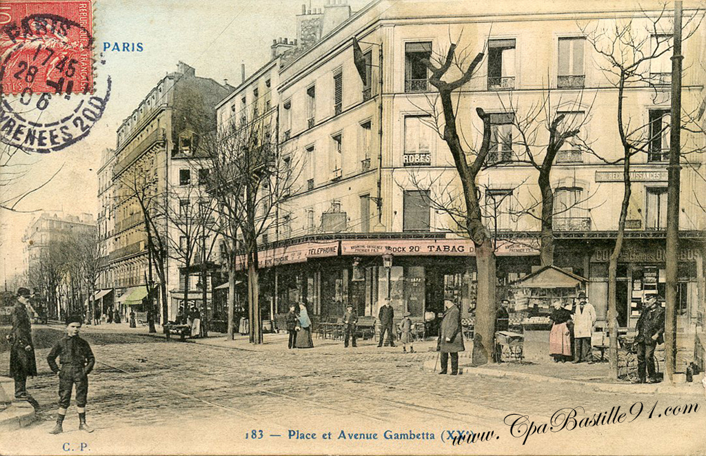 carte postale 1900 paris la place et l avenue gambetta cartes postales anciennes. Black Bedroom Furniture Sets. Home Design Ideas