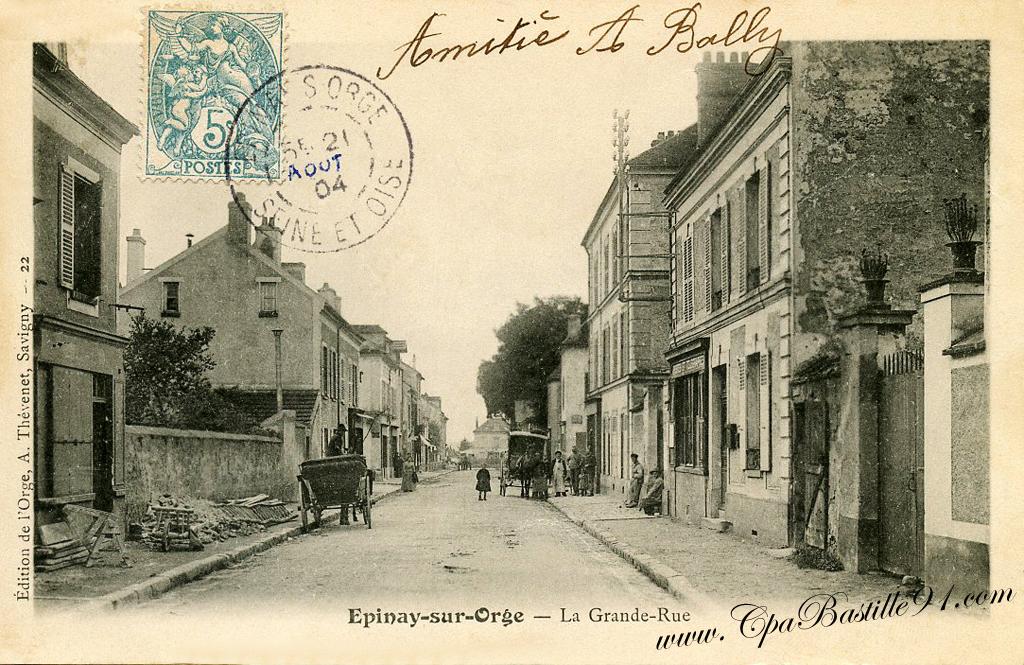 carte postale de1900 pinay sur orge grande rue cartes postales anciennes. Black Bedroom Furniture Sets. Home Design Ideas