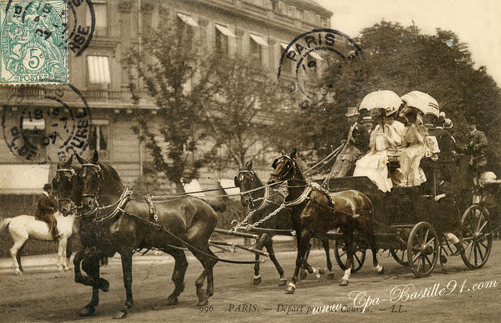 paris 1900 attelage de 4 chevaux d part aux courses cartes postales anciennes. Black Bedroom Furniture Sets. Home Design Ideas