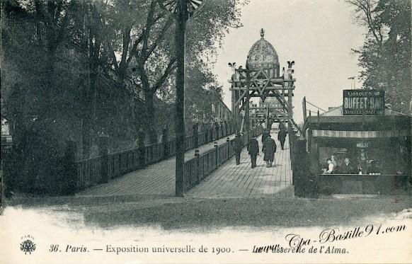 La passerelle de l'Alma - exposition Universelle de 1900 - Cliquez sur la carte pour l'agrandir et en voir tous les détails