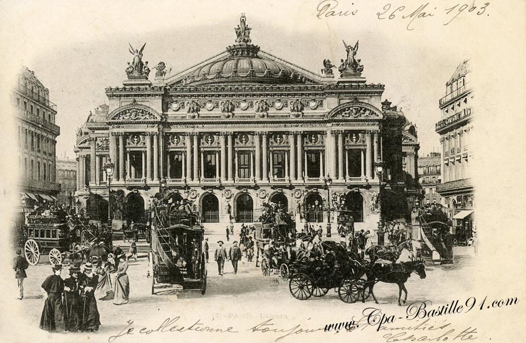 paris opera garnier et son plan et l omnibus l imp riale cartes postales anciennes. Black Bedroom Furniture Sets. Home Design Ideas