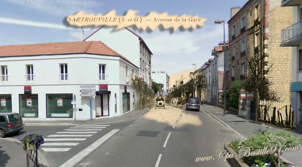 Sartrouville l avenue de la gare en 1910 et aujourd hui for Piscine sartrouville