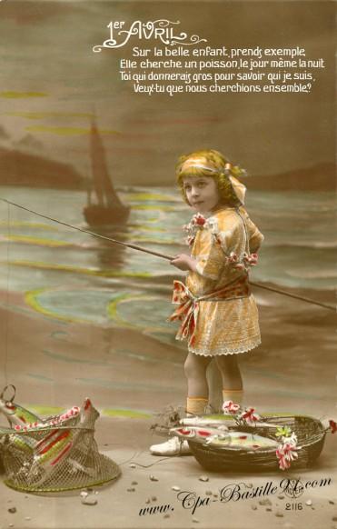 1er Avril - enfant à la pêche - Cliquez sur la carte pour l'agrandir et en voir tous les détails