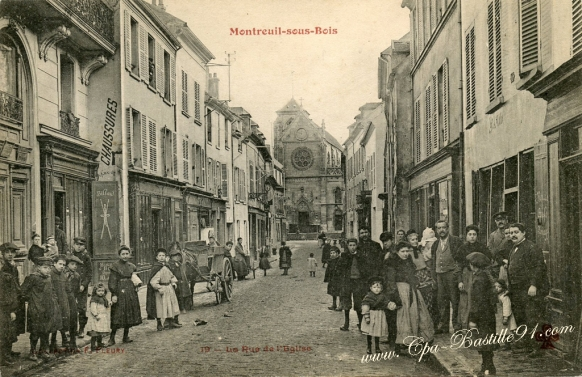 95- Montreuil sous Bois-la rue de l'église - cliquez sur la loupe pour agrandir l'image