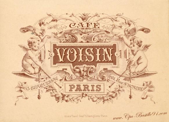 Menu du 25 janvier 1902 au café Voisin-Paris - Cliquez sur la carte pour l'agrandir et en voir tous les détails