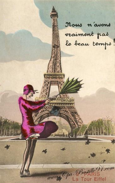 Paris-La tour Eiffel-nous avons pas vraiment beau temps- éditeur LB -  Cliquez sur la carte pour l'agrandir et en voir tous les détails