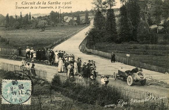 Circuit de la Sarthe 1906 - Tournant de la passerelle à Saint Calais - Cliquez sur la carte pour l'agrandir et en voir tous les détails