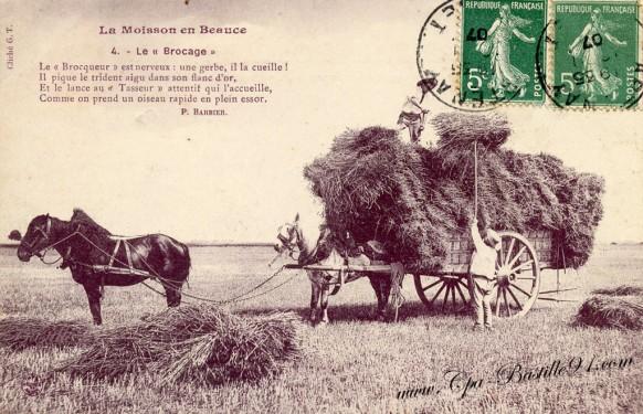 La moisson en beauce-Cliche GT- circulé en 1907 - Cliquez sur la carte pour l'agrandir et en voir tous les détails