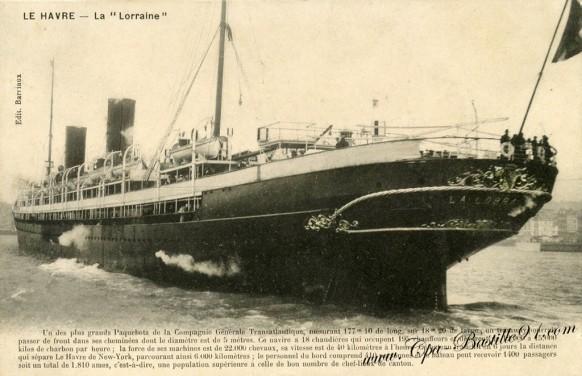 Le Havre- le plus grand Paquebot-La Lorraine - Cliquez sur la carte pour l'agrandir et en voir tous les détails