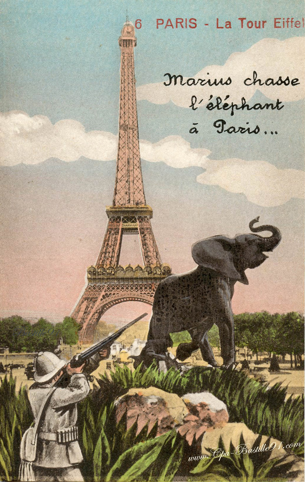 Paris - Marius chasse l'éléphant à la Tour Eiffel | Cartes Postales Anciennes