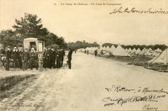 51-Au Camp de Chalons-Un coin de campement - Cliquez sur la carte pour l'agrandir et en voir tous les détails