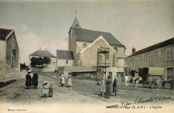 91-Breuillet-Villages-l'eglise avec attelage et vache - Cliquez sur la carte pour l'agrandir et en voir tous les détails