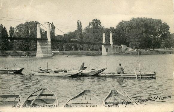 91-Soisy-sous-etiolles - pecheurs vers le pont