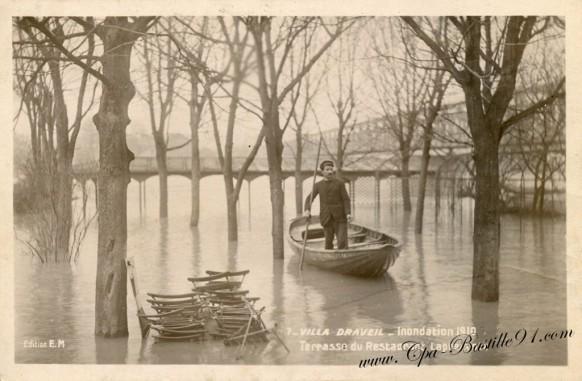 91-Villa draveil-inondation 1910-terrasse du restaurant Lapreuvotte  - Cliquez sur la carte pour l'agrandir et en voir tous les détails