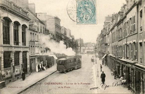 Cherbourg.jpg-la rue de la Fontaine et la poste  - Cliquez sur la carte pour l'agrandir et en voir tous les détails