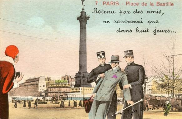 Paris-Place de la Bastille-retenu par des amis