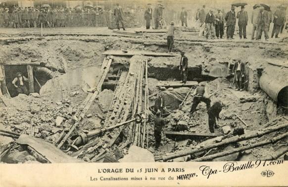 Paris- l'orage du 15 juin a paris-les canalisations rue du havre