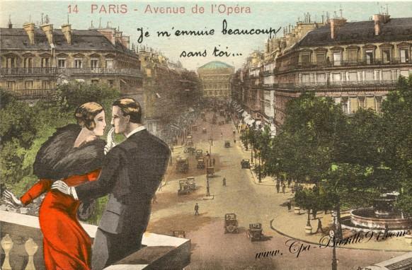 Paris-avenue de l'opera-je m'ennuie beaucoup sans toi