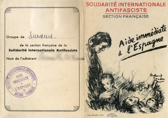 Section Française de la Solidarité Internationale Antifasciste-Carte d'adhérent de 1938