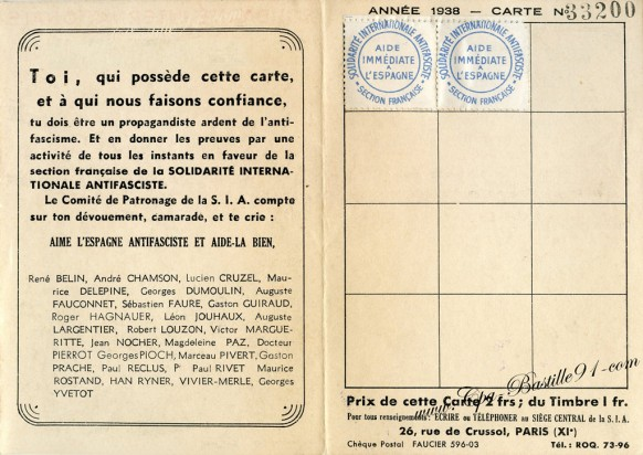 Section Française de la Soladarité Internationale Antifasciste-Carte d'adhérent de 1938verso
