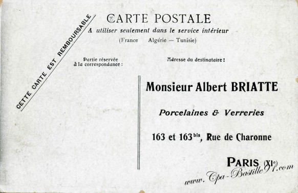 carte postale ancienne-verso -albert briatte-porcelaine et verreries