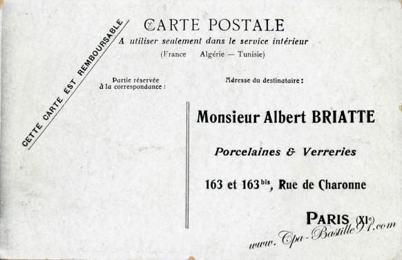 carte postale ancienne-verso -albert briatte-porcelaine et verreries