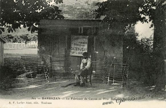 carte postale ancienne-Barbazan-le Fabricant de cannes en vrai bois des pyrénees