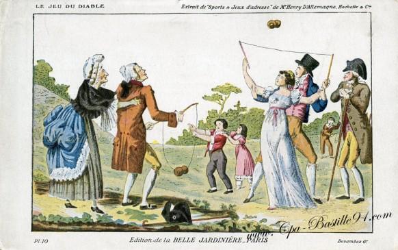 carte postale ancienne-Le jeu du diable -la belle jardiniere