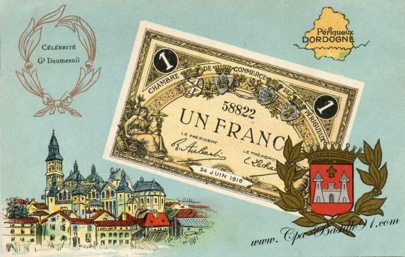 carte postale ancienne-Un francs-CHAMBRE DE COMMERCE DE PERIGUEUX