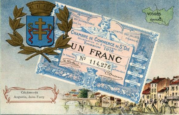 carte postale ancienne-Un francs-Chambre du commerce de St Dié