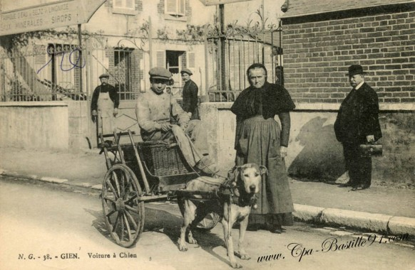 45-Carte postale ancienne-Gien-Voiture a Chien