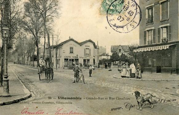 93-Carte postale ancienne-Villemomble-Grande rue et Rue Circulaire