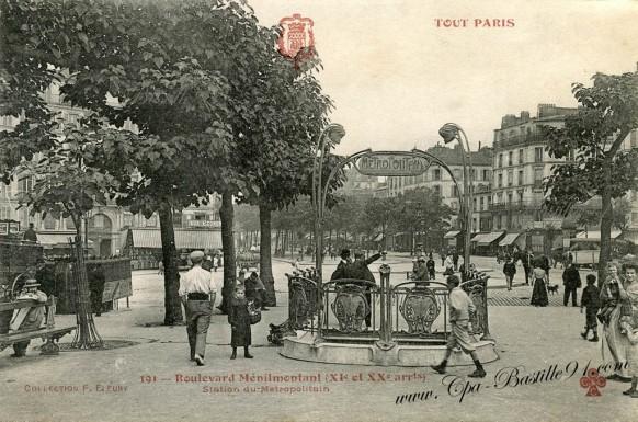 Tout Paris-Boulevard Menilmontant-station du metropolitain
