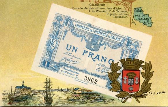 Carte-Postale-Ancienne-CHAMBRE DE COMMERCE DE CALAIS-Un Franc