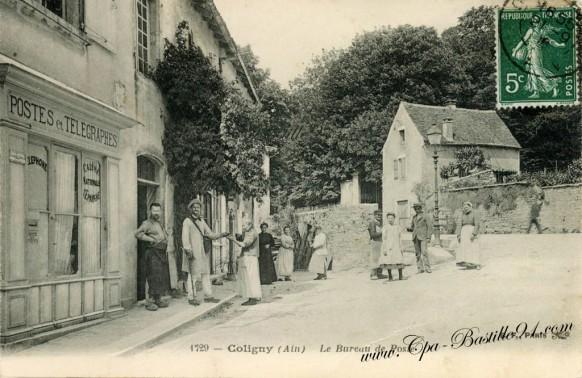 Carte-postale-ancienne-Coligny-Le Bureau de Poste