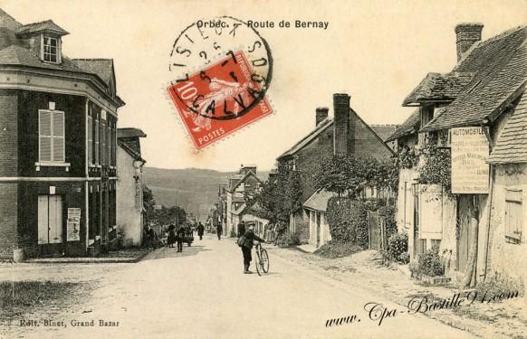 carte-postale-ancienne-Orbec-Route-de-Bernay