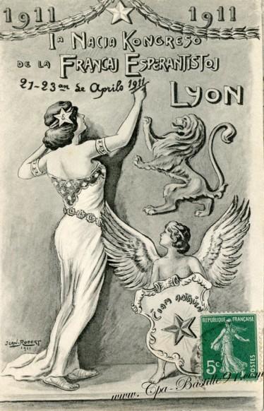 Carte-Postale-Ancienne-Esperanto-Esperantistoj-Lyon