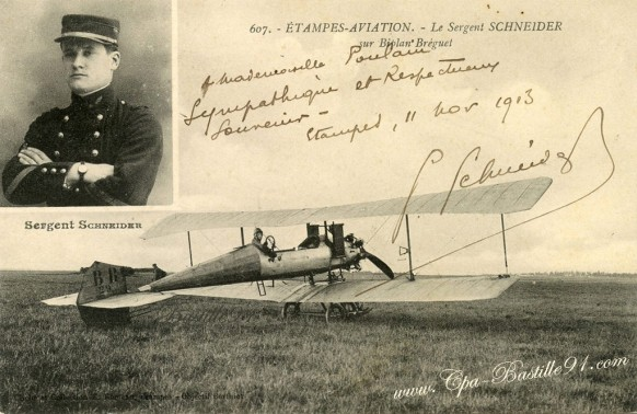 arte-postale-ancienne-Etampes-Aviation-Le sergent Schneider