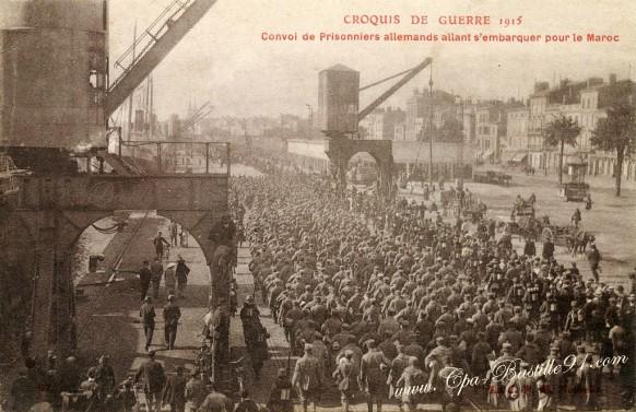 Bordeaux-croquis-de-Guerre-convoi-de-prisonniers-allemands-allant-sembarquer-pour-le-Maroc