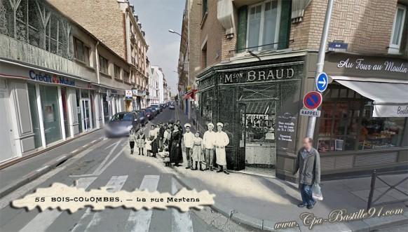 Bois-Colombes - La rue Mertens - Pâtisserie Braud - d'hier à Aujourd'hui