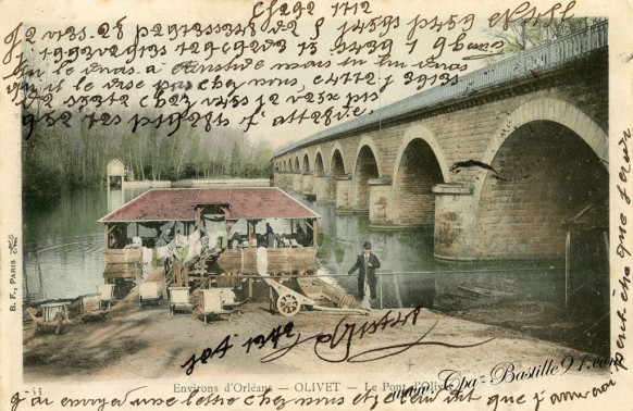 Carte-Postale-Ancienne-Olivet-le pont-Correspondance codée