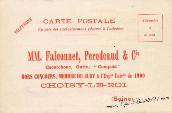 Carte-Postale-Ancienne-Publicitaire-Falconnet-Perodeaud-Choisy-le-Roi-caoutchouc
