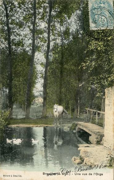 Carte-Postale-Ancienne-Breuillet-Une Vue de l'orge-Un Cheval