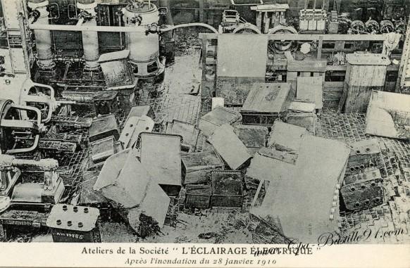Ateliers de la société « L'Eclairage Electrique après Inondation du 28 Juillet 1910