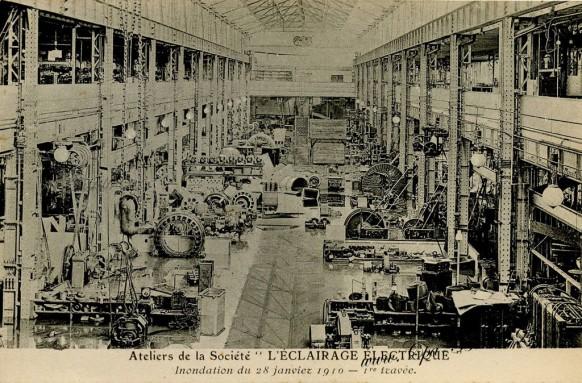carte postale ancienne - l'éclairage électrique inondation de 1910
