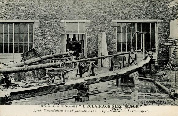 L'éclairage électrique - épuisement de la Chaufferie  inondation de 1910